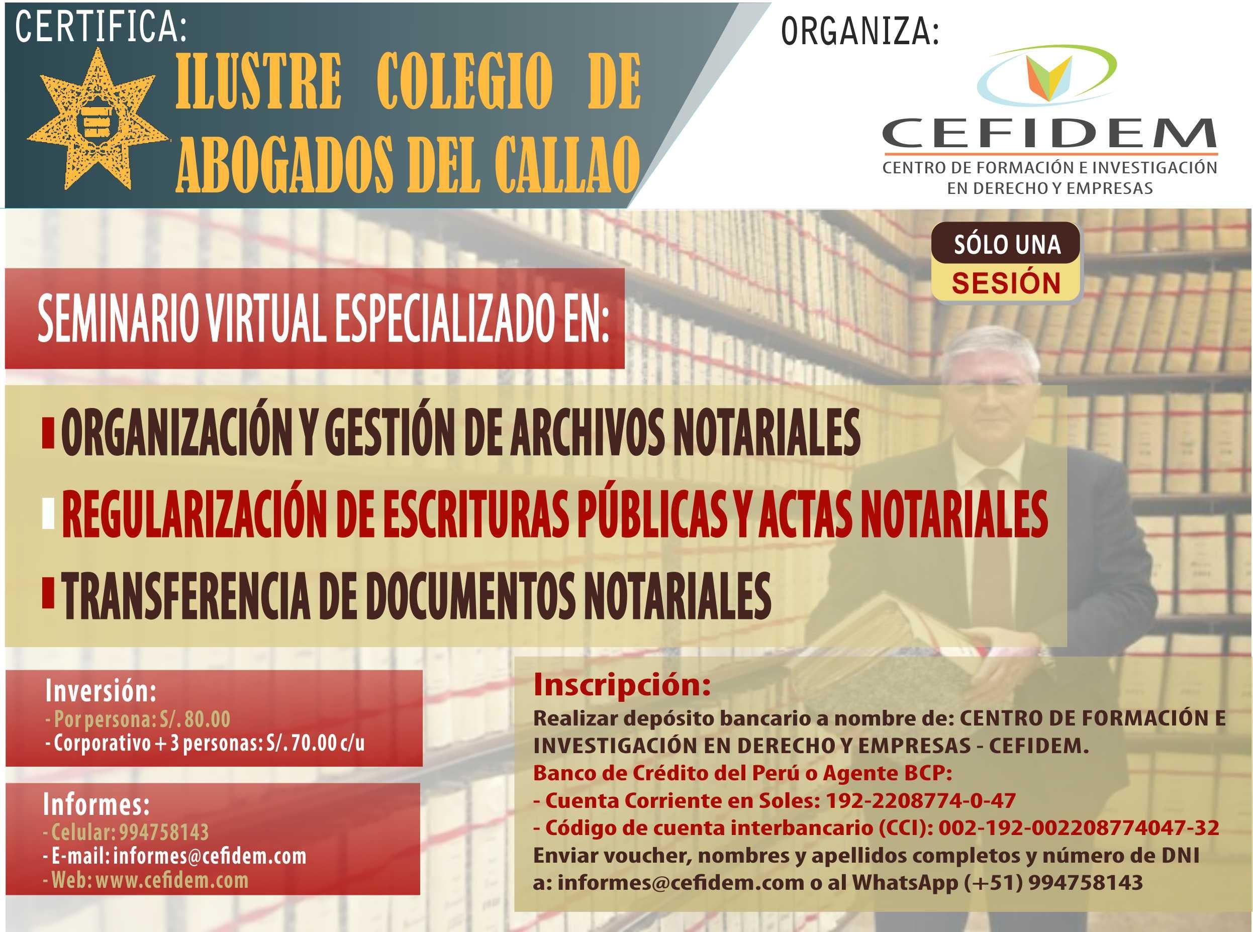 Seminario virtual: ORGANIZACIÓN Y GESTIÓN DE ARCHIVOS NOTARIALES, REGULARIZACIÓN DE ESCRITURAS Y TRANSFERENCIA DE DOCUMENTOS NOTARIALES (inscríbete)