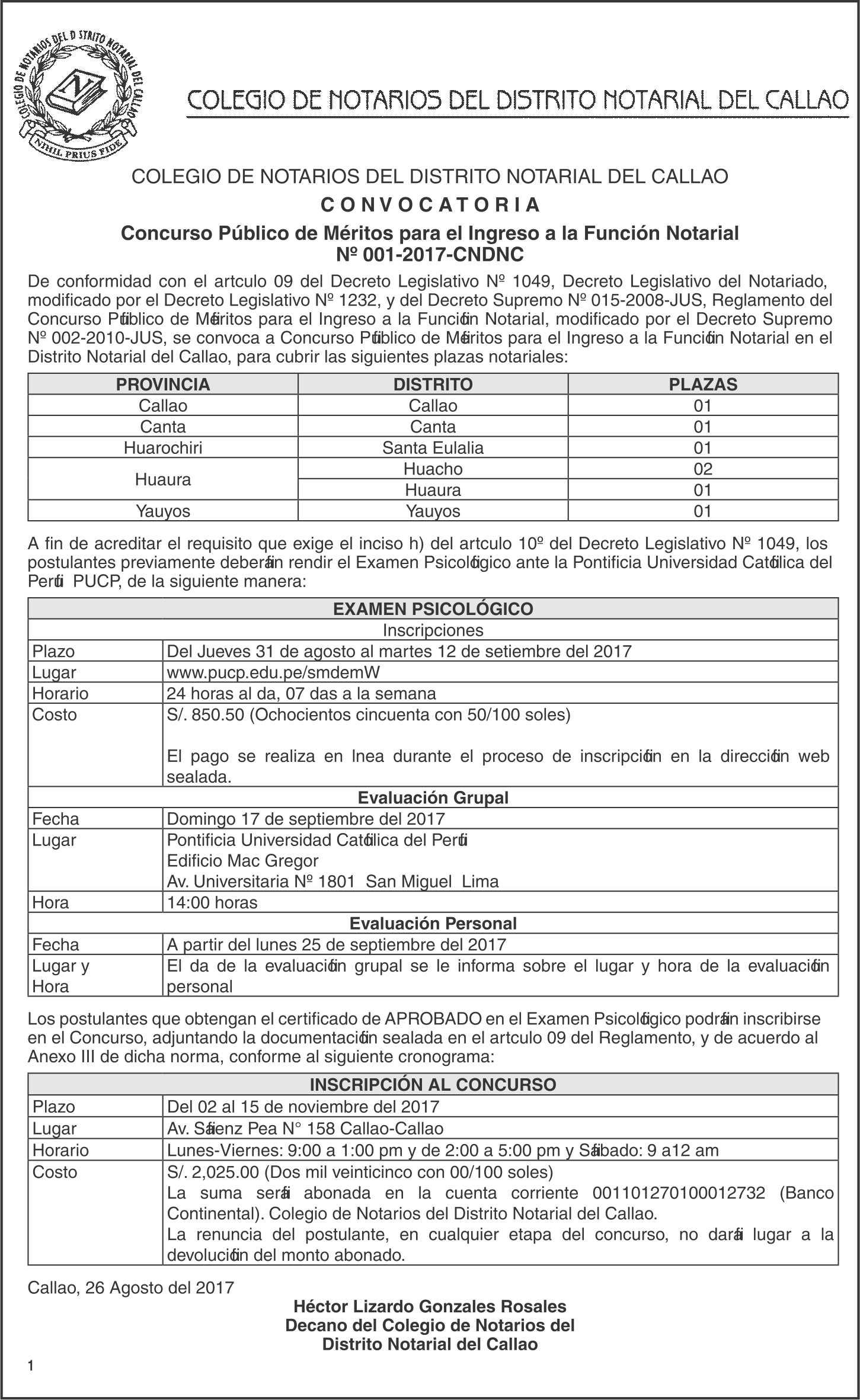 Colegio de Notarios del Callao Convoca a Concurso Público para el Ingreso a la Función Notarial