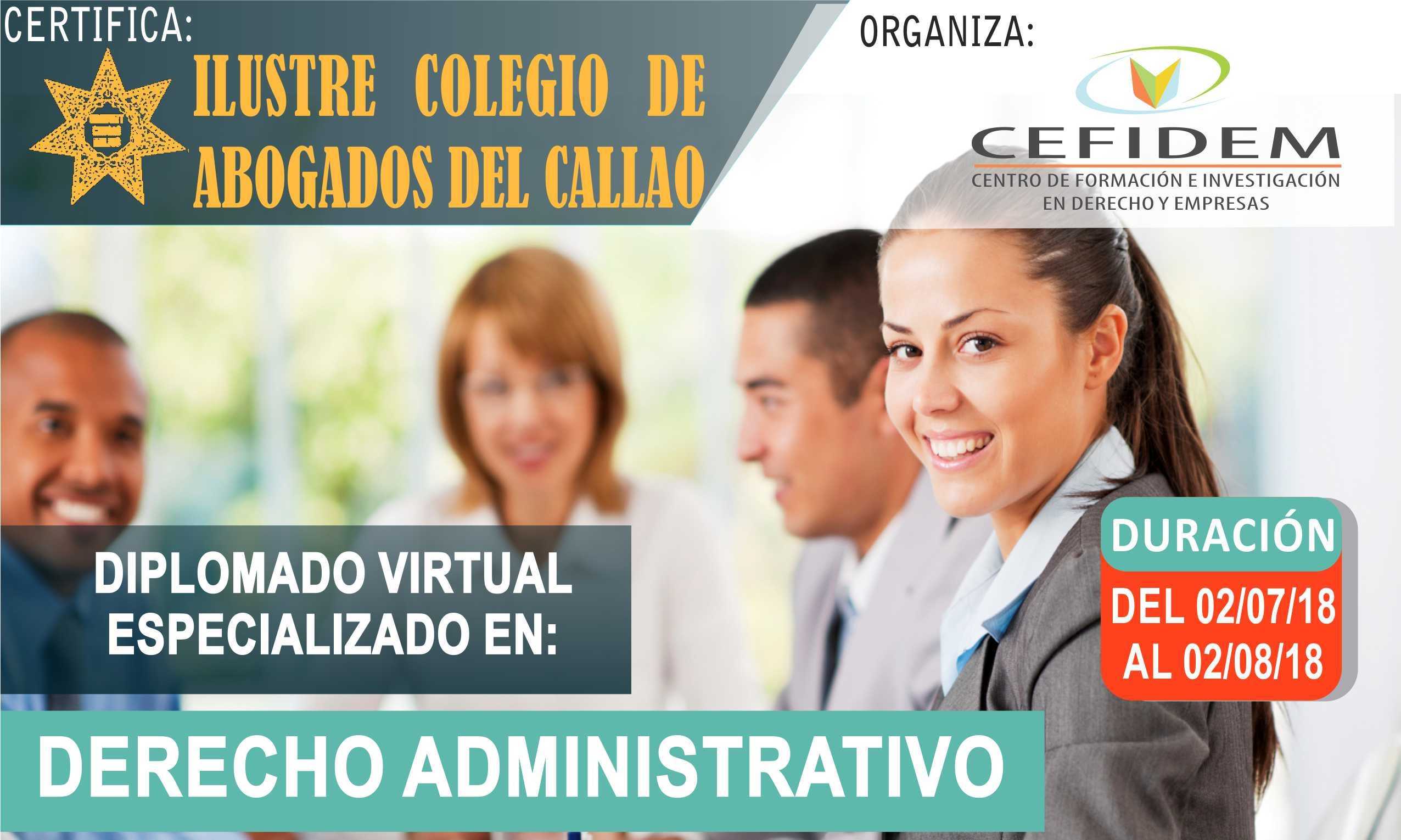 Diplomado virtual en: DERECHO ADMINISTRATIVO (inicia el 02/07/2018)