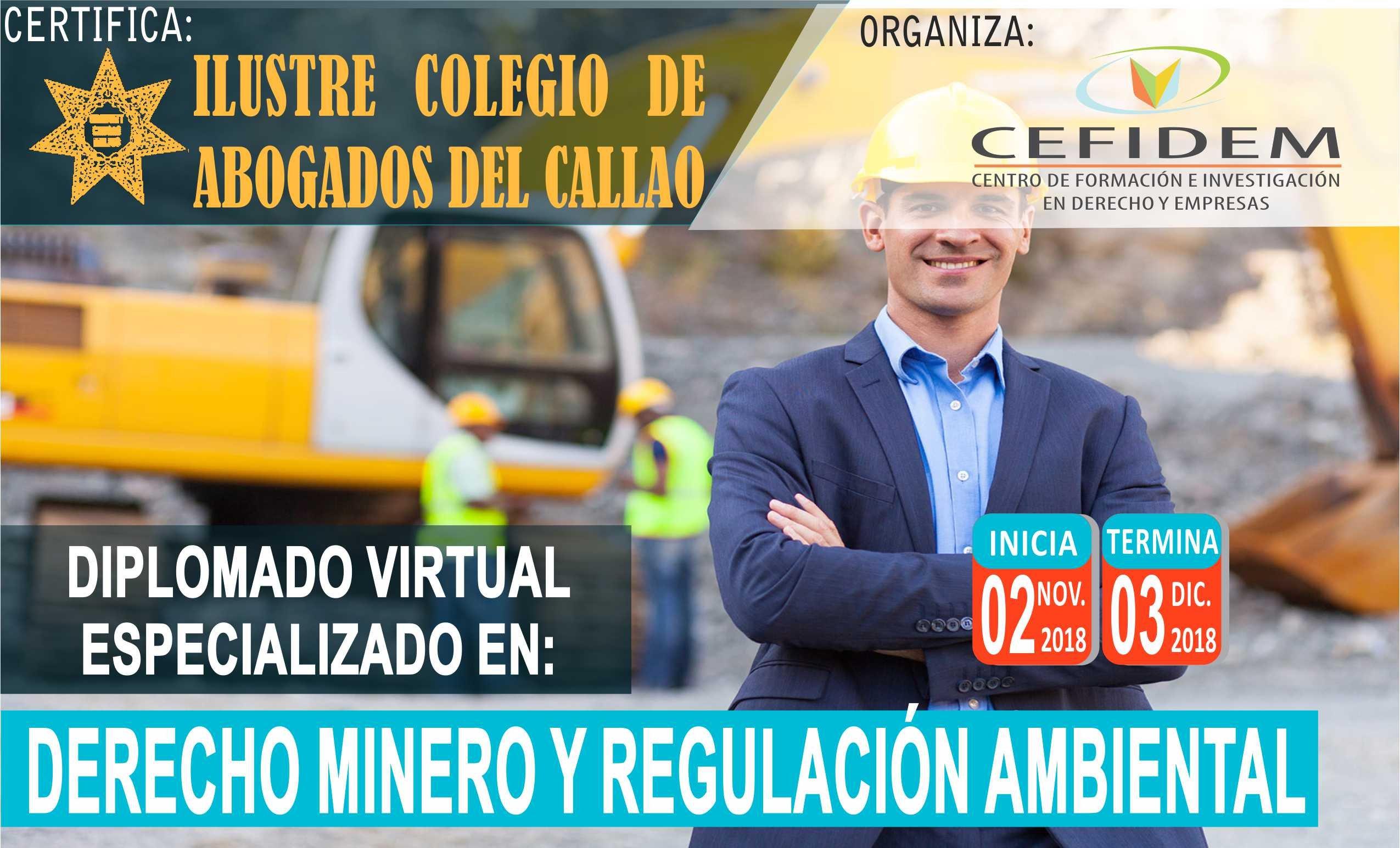 DIPLOMADO VIRTUAL EN DERECHO MINERO Y REGULACIÓN AMBIENTAL (02/11/18)