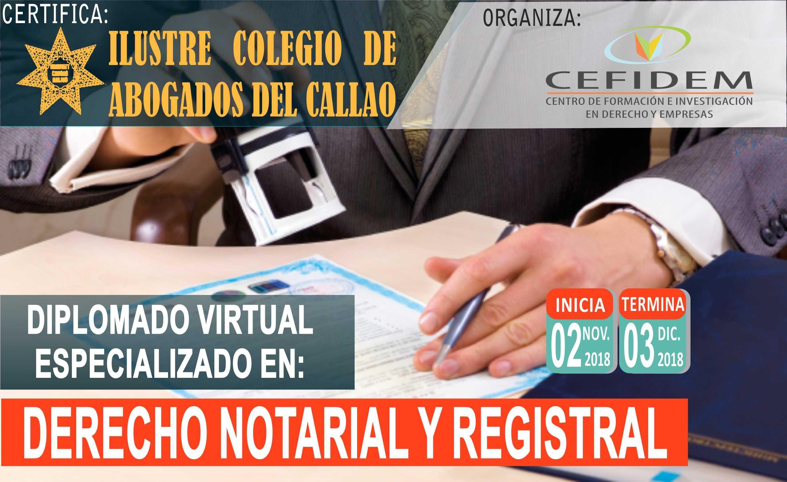 DIPLOMADO VIRTUAL EN DERECHO NOTARIAL Y REGISTRAL (02/11/18)