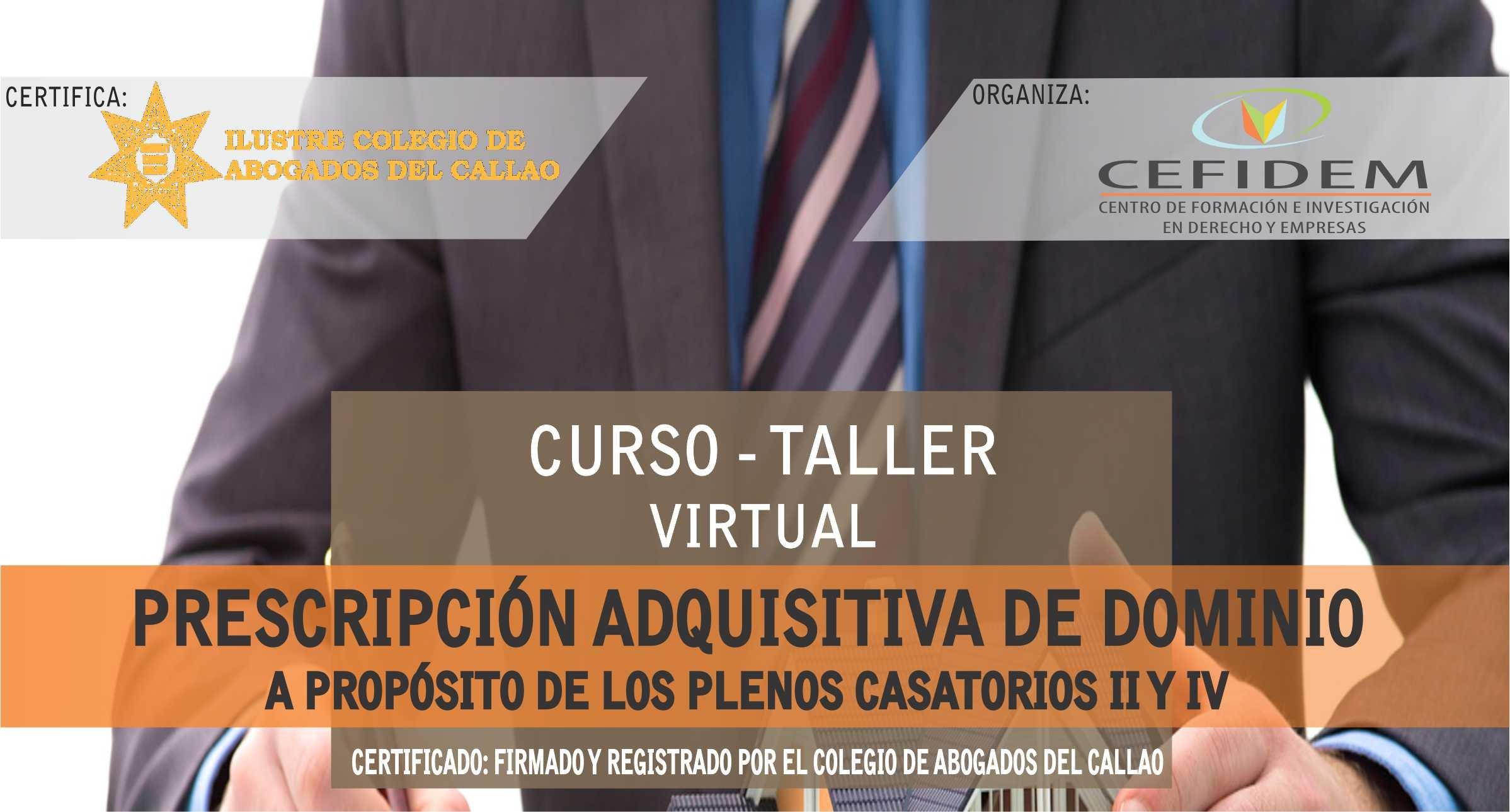 PRESCRIPCIÓN ADQUISITIVA DE DOMINIO (curso-taller virtual)