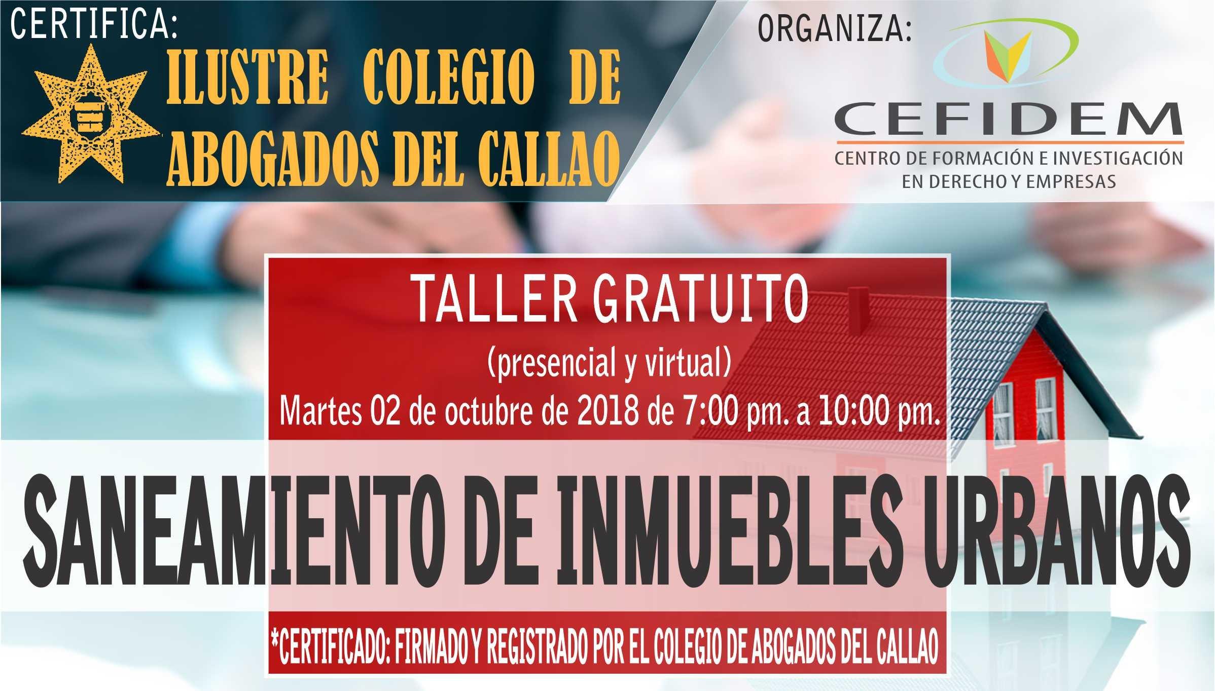 Taller Gratuito: SANEAMIENTO DE INMUEBLES URBANOS (02/10/18)