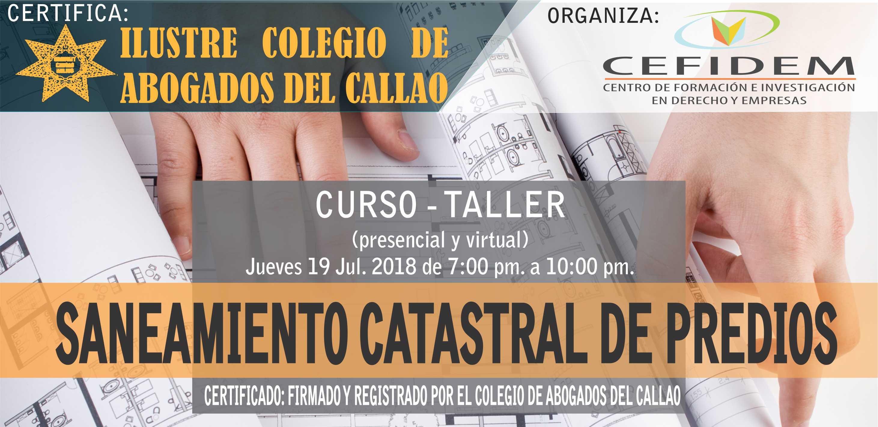 Curso-Taller: SANEAMIENTO CATASTRAL DE PREDIOS (19/07/18)